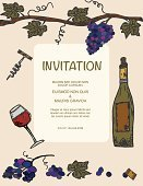 Wine Bottle,Wine,Invitation,Grape,Party - Social Event,Ilustration,Wineglass,Bunch,Drink,Poster,Vector,Sketch,Incomplete,Alcohol,hand drawn,Drawing - Art Product,Vine,Backgrounds,Color Image