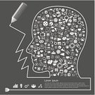 Brainstorming,Symbol,Thinking,People,Infographic,Pattern,Pencil,Abstract,Vector,Ilustration,Computer Graphic,Creativity
