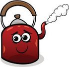 Boiling,Kettle,Humor,Metal,Happiness,Cheerful,Domestic Kitchen,Clip Art,Kitchen Utensil,Design,Heat - Temperature,Steam,Cooking,Vector,Characters,Drawing - Art Product,Mascot,Single Object,Smiling,Cartoon,Ilustration,Fun