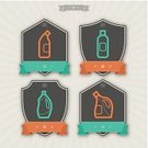 Sign,Clean,Symbol,Equipment,disinfectant,Bottle,Green Color,Gray,Bleach,Group of Objects,Washing,Cleaning,Orange Color,Vector