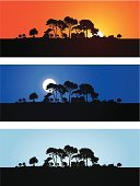 Horizon,Forest,Silhouette,Tree,Bush,Sunset,Vector,Red,Moon,Outline,Sky,Night,Twilight,Tree Trunk,Orange Color,Leaf,Moonlight,Ilustration,Branch,Yellow,Non-Urban Scene,Computer Graphic,No People,Blue,Shadow,Panoramic,Outdoors,Design Element,Color Image,Colors,Design,Part Of,Horizontal,Simplicity,Dusk,Plant,Digitally Generated Image,Nature
