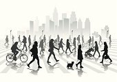 People,City,Electric Lamp,Crowd,Walking,Family,Street,Gray,Silhouette,Skyscraper,Illustration,City Life,Group Of People,Vector,Lamp