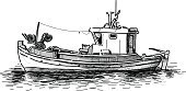 Fishing Boat,Motorboat,Nautical Vessel,Trawler,Sea,Transportation,Cultures,Industrial Ship,Isolated On White,Wood - Material,Drawing - Art Product,Water,Drawing - Activity,Fishing Industry,Ship,Sketch,Ilustration,Catching,Pencil Drawing,Fishing
