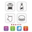 Barbecue Grill,Barbecue,Symbol,Gray,Orange Color,Green Color,Sign,Food,Purple,Blue,Glove,White Background,Kitchen Glove,Vector,Cheeseburger,White,Ketchup,Red
