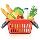 Supermarket,Shopping,Merchandise,Cheese,Bag,Food,Basket,Photo-Realism,Corn,Cabbage,Baguette,Ilustration,Store,Shopping Bag,Red,White Background,Vector,Buy,Market,Box - Container,hypermarket,Isolated,Container,Milk,Bread,Apple - Fruit,Fruit,Tomato,Symbol,Full