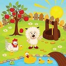 Yard,Front or Back Yard,Well,Rural Scene,Cartoon,Beauty In Nature,Fence,Outdoors,Ilustration,Apple - Fruit,Cloud - Sky,Sky,Water,Pasture,Bird,Pond,Mammal,Family,Series,Chicken - Bird,Sheep,Animal,Meadow,Farm,Sun,Beautiful,Livestock,Baby Chicken,Wellbeing,Duckling,Vector,Pets,Young Bird,Bridge - Man Made Structure