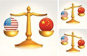 Country and Western Music,Patriotism,Gold Colored,Legal System,Gold Chain,Computer Icon,White Background,Law,Digitally Generated Image,Symbol,heavier,Chain,The Americas,Scale,Asia,Blue,Problems,USA,China - East Asia,Star - Space,Sign,Set,Weight Scale,Gold,Red,Justice - Concept,Conflict,Star Shape,Yellow,White,Challenge