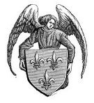 Woodcut,Coat Of Arms,Old-fashioned,Retro Revival,Insignia,Speculative Being,Circa 15th Century,Angel,Print,History,Black And White,France,French Culture,Ilustration,Styles,Medieval,Antique,Cultures,Central Europe,Europe,Symbol,Old,The Past,Obsolete,Middle Ages,European Culture,Engraved Image