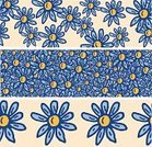 Floral Pattern,Ilustration,Cartoon,Three Objects,Vector,Ribbon,Banner,Single Flower,Frame,Daisy,Drawing - Art Product,hand drawn,Set Of Three,Flower,Pattern,Incomplete,Yellow,Blue,Set