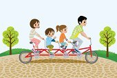 Bicycle,Cycling,Family,Child,Little Boys,Tandem Bicycle,Park - Man Made Space,Playful,Mode of Transport,Waving,Sidewalk,Family with Two Children,Togetherness,Smiling,Fun,Tree,Riding,Joy,Son,Freshness,Offspring,Happiness,Full Length,Cycle,Four People,Mother,Nature,Cute,Recreational Pursuit,Playing,Two Parents,Clear Sky,Paving Stone,Springtime,Street Light,Healthy Lifestyle,Father,Exercising,Outdoor Pursuit,Vector,Cheerful,Green Color,Enjoyment,Daughter,Lifestyles,Outdoors,Leisure Activity,Elementary Age,Little Girls,Carefree