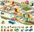 Isometric,Car,Mansion,Town,Construction Industry,Downtown District,Residential District,Street,Highway,Billboard,Toolbox,Vector,Tree,Men,Clip Art,Suburb,Station,Factory,Apartment