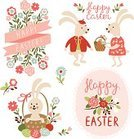 Easter Bunny,Easter,Old-fashioned,Retro Revival,Symbol,Rabbit - Animal,Easter Egg,Ribbon,Placard,Flower,Single Flower,Banner,Greeting Card,Frame,happy easter,Springtime,Decoration,Celebration,Collection,Easter Card,Set,Art,Cute,Child,Smiling,Typescript,Cartoon,Typing,Baby Rabbit,Label,Animal Themes,Holiday,Painted Image,Text,Happiness,Ilustration,Season,Animal,eggs in basket,Insignia