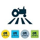 Tractor,Farm,Field,Agriculture,Planting,Crop,Symbol,Colors,Icon Set,Flat,Vector,Computer Icon,Square Shape,Circle