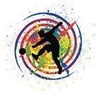 Football Player,Circle,Playing,Shooting at Goal,Dirty,Sport,Halftone Pattern,Spray,Silhouette,Soccer,Abstract,Stained,Blob,Drop,Grunge,Soccer Player,Soccer Ball,Splattered,Football,Vector,Ilustration