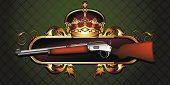 Rifle,Ilustration,Ornate,Crown,Single Object,Arsenal F.c.,Style,Barrel,Retro Revival,Vector,Paintings,Gun,Symbol,Weapon,Pistol,Decoration,Green Color,Computer Graphic,Power,Shape,Military