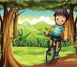 Cycling,Child,Outdoors,Day,Surrounding,Gift,Tropical Rainforest,Tree,Grass,Leaf,Mountain,Wealth,Forest,Small,Branch,Plant,Vine,Image,Computer Graphic,People,Men,Little Boys,Nature