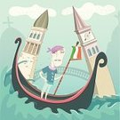 Venice - Italy,Urban Scene,Grand Canal - Venice,Vacations,Cultures,Humor,Veneto,Travel Destinations,Italy,Italian City,Scribble,means of transport,hand drawn,Canal,City,Journey,Gondola,italian architecture,Drawing - Art Product,vector illustration,Bridge - Vessel Part,River,Art,Palace,Water,Sketch,Gondolier,One Man Only,Public Transportation,European Culture,Characters,Renaissance