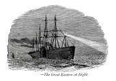 Nautical Vessel,Steamboat,Sailing Ship,Passenger Ship,Print,Image Created 19th Century,Ilustration,Lighting Equipment,Spotlight,Styles,Woodcut,Searchlight,Paddleboat,Black And White,Cultures,Old-fashioned,Time Of Day,History,Mode of Transport,Engraved Image,Transportation,Retro Revival,Travel,19th Century Style,Vintage Steamship,Victorian Style,The Past,Nostalgia,Historical Ship,Antique,Night,Old,Equipment,Obsolete,Industrial Revolution,Dark