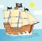 Brigantine,Pirate Flag,Vector,Cartoon,Color Image,Ilustration,Paintings,Computer Graphic,Mascot,Smiling,Pattern,Flag,Design,Image,Image Type,Characters,Backgrounds,Painted Image,Humor,Ship,Isolated On White,Illustrations And Vector Art,Vector Cartoons,Clip Art,Mode of Transport,Drawing - Art Product,Multi Colored,Happiness,Transportation,Digitally Generated Image,Cheerful,Joy