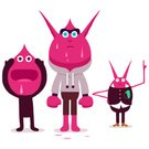 Pointing,Standing,Staring,Sweat,Alien,Monster,Vector,Ilustration,Magenta,Cartoon,Characters