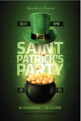 St. Patrick's Day,Flyer,Backgrounds,Coin,Hat,Clover,Currency,Luck,Irish Culture,Wealth,Cooking Pan,Party - Social Event,Bar - Drink Establishment,Pub,Gold Colored,Gold,Patrick's,Ilustration,Vector,Success,Sign,template,Text,Poster,Magic,Holiday,advertise,Celebration,Black Color,Plan,Green Color,Full,Treasure,Shiny,Design