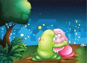 Embracing,pacify,pacifying,Togetherness,bestfriend,Couple,Friendship,Land,Brown,Tree Trunk,Leaf,Branch,Star - Space,Street,Outdoors,Love,Alien,Night,Footpath,Sky,Tree,Plant,Shade,Dirt,Image,Characters,Blob,Animal,critters,Computer Graphic,Monster,Green Color