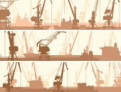 Harbor,Shipping,Commercial Dock,Silhouette,Cargo Container,Crane - Construction Machinery,Cable,Industry,Nautical Vessel,Pier,Rope,Tanker,Tower,Horizontal,Set,Elevator,Placard,Group of Objects,Derrick Crane,Machine Part,Label,Medium Group of Objects,Bookmark,Banner,Vector,Industrial Ship