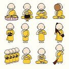 Meditating,Ilustration,Preacher,Child,Men,Cute,Little Boys,Pencil,People,Cheerful,Vector,Sitting,Walking,East,Priest,Tibet,Clothing,Cultures,Thailand,Buddhism,Backgrounds,Ethnicity,Buddha