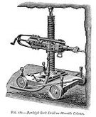 Antique,19th Century Style,Obsolete,Engraved Image,Ilustration,Woodcut,Retro Revival,The Past,Equipment,Industrial Revolution,Work Tool,Black And White,Old,Power Tool,Image Created 19th Century,Old-fashioned,History,Industry,Drill,pneumatic,Construction Equipment,Nostalgia,Styles,Mining,Print,Jackhammer,Drill Bit,Victorian Style,Drilling