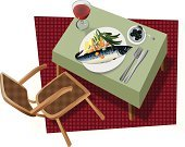 Whole,Tablecloth,Table,Juice,Carrot,Bean,Saucer,Plate,Chair,Carpet - Decor,Fork,Olive,Cup,One Person,Cut Out,Prepared Potato,Knife,Spoon,Mackerel,Trout,Green Color,Celery,Prepared Fish,Wood - Material