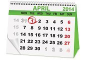 Calendar,April,Isolated,Isolated On White,Symbol,Day,Calendar Date,Green Color,Cultures,Vector
