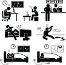 Laziness,Symbol,Computer Icon,Stick Figure,Sleeping,Eating,People,Drinking,Working,Video Game,Night,Silhouette,Alcohol,Poverty,Men,Addiction,Emotion,Alcoholism,One Person,Tired,Computer,Television Set,Hangover,Dieting,The Human Body,Cartoon,Lifestyles,Unhealthy Eating,Smoking Issues,Urgency,Checking the Time,Messy,Take Out Food,Food,Alcohol,Smoking,Unwell,Healthy Lifestyle,Working Late,Fast Food,Concepts,Vector,Watching,Dirty,Hopelessness,Unhygienic,Sign