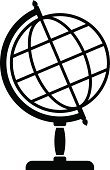 Globe - Man Made Object,Planet - Space,Symbol,Vector,Circle,Black And White,Single Object,Ilustration