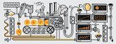Factory,Organization,Machinery,Conveyor Belt,Pipe - Tube,Diagram,Business,Technology,Growth,Leadership,Data,Gear,Concepts,Industry,Ideas,Computer,Faucet,Machine Valve,Radar,Chart,Currency,Pound Symbol,Vector,Information Medium,British Currency,Gold,Dollar,Computer Monitor,Finance,Connection,Equipment,Instrument of Measurement,Success,Tubing,Analyzing,Measuring,Dollar Sign,Internet,Curve,Gold Colored