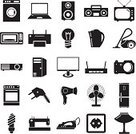Computer Icon,Appliance,Symbol,Equipment,Electric Plug,Iron - Metal,Laundry,Laptop,Refrigerator,Tape Recorder,luminaire,Electric Lamp,Kettle,Set,Projection Equipment,Sign,Computer Printer,Electric Cooker,Hair Dryer,Television Set,Creativity,Camera - Photographic Equipment,Fan,Sewing Machine,Single Object,Machinery,Router,Network Connection Plug,Electrical Appliances,Sockets,Computer Monitor,Microwave,Domestic Life,Computer,Industry,Vector,Flat,Speaker,Ilustration,Vacuum Cleaner