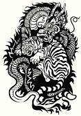 Tiger,Dragon,China - East Asia,Animal,Conflict,Fighting,Energy,Furious,Feng Shui,Storytelling,Mascot,Mythology,Magic,Yin Yang Symbol,Tattoo,Nature,Anger,Imagination,Aggression,Fantasy,Cultures,Black And White,Balance,Struggle,Totem Pole,Strength,Power,Allegory Painting