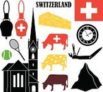 Switzerland,Tennis,Famous Place,Symbol,Tourism,Travel,Meal,Knife,Vector,Sign,Isolated,Set,Cheese,Handbell,Mountain,Penknife,Church,Flag,Ball,Design Element,Cow,Cultures,Tennis Racket,Clock Face,Time,Old-fashioned,Collection
