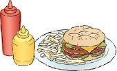 Meat,Food,food/drink,Cooked Beef,French Fries,Hamburger,Meal,Cut Out,Ketchup,Beef,No People