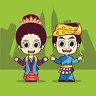 Malaysia,Asia,asean,Country - Geographic Area,People,Cultures,Vector,Ilustration,Abstract,Cartoon,Characters