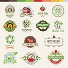 Vegetable,Fruit,Farm,Label,Food,Badge,Organic,Set,Meat,Apple - Fruit,Computer Icon,Tractor,Merchandise,Drink,Spoon,Fork,Vegetarian Food,Animal,Ilustration,Vector,Chicken,Cow,Chicken - Bird,Nature