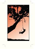 Swing,Summer Camp,Rope Swing,Child,Tree,Swinging,Summer,Vacations,Sport,Exercising,Relaxation Exercise,Childhood,Fun,Sports And Fitness,Illustrations And Vector Art,Concepts And Ideas