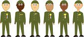 Armed Forces,Multi-Ethnic Group,Caucasian Ethnicity,Latin American and Hispanic Ethnicity,African Ethnicity,Courage,Achievement,Full Length,Retail,Relaxation,Staring,Cut Out,US Veteran's Day,Army,2010,Vector,Men,Ilustration,Large Group Of People,Standing