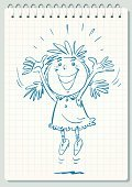 Concepts,Joy,Cheerful,Curly Hair,Laughing,Playful,Summer,Greeting,Childhood,Child,Illustration,Girls,Vector