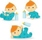 Angel,Baby,Crawling,Cute,Small,Cartoon,Action,Fun,Humor,Birthday,Vector,Collection,Pacifier,Isolated,Childishness,Ilustration,Posture,Series,Newborn,Blue,Happiness,Cheerful,Bottle,eps8,Backgrounds,Mischief,Baby Bottle,Child,Lying Down,Sitting,Set