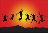 Jumping,Celebration,Silhouette,People,Teenager,Winning,Adolescence,Men,Little Boys,Happiness,Success,Action,Joy,Group Of People,Wellbeing,Conquering Adversity,Freedom,Teenage Boys,Achievement,Hand Raised,Ecstatic,Outline,Vector,Excitement,Fist,Arms Raised,Cool,Satisfaction,Grass,High Up,First Place,Adult,Mid-Air,Arms Outstretched,On Top Of The World,Front View,Casual Clothing,Punching,Holidays And Celebrations,Actions