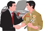 Face To Face,Men,Two People,Ilustration,Businessman,Vector,April,half-length,Car,Motor Vehicle,Cut Out,Adult,Short Hair,People,Land Vehicle,2011,Black Hair,Caucasian Ethnicity,Handshake,Holding,Working,Mechanic