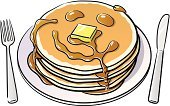 Pancake,Breakfast,High Angle View,Food,Still Life,2011,October,Stack Of Pancakes,Humor,Silverware,Cut Out,No People,Vector,Dining,Meal,Ilustration,Syrup,Smiley Face,Baked