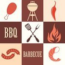 Barbecue Grill,Barbecue,Flame,Old-fashioned,Design Element,Symbol,Computer Icon,Chili Pepper,Food,Fire - Natural Phenomenon,Grilled,Camping,Chicken - Bird,Refreshment,Poultry,Set,Prepared Shrimp,Meat,Restaurant,Isolated,Sausage,Icon Set,Sign,Vector,White Meat,Collection