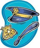 Cut Out,Police Force,public service,2011,On Blue,Police Hat,Hat,April,Nightstick,No People,Vector,Group of Objects,Ilustration,Police Badge,Badge
