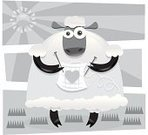 Outdoors,Black And White,Bizarre,Humor,Full Length,Toned Image,2011,Animal,Sheep,Knitting,Staring,No People,Vector,Day,Anthropomorphic,Hobbies,Sitting,Craft,Ilustration,July